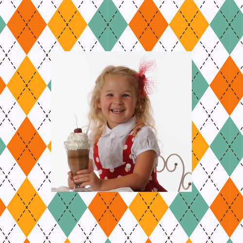 Argyle designer photo gift wrapping paper with girl holding mildshake