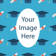 Blue Caps and Diplomas Graduation Class of 2020 Personalized Photo Gift Wrapping Paper