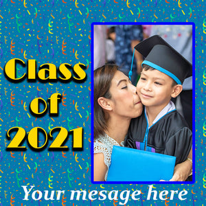 Party Ribbons Graduation Class of 2021 Personalized Photo Gift Wrapping Paper