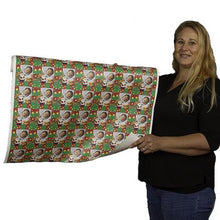 Woman holding roll of custom printed gift wrapping paper