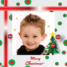 Custom photo gift wrap with Christmas ribbon, tree and photo of little boy