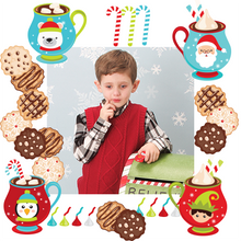 Designer gift wrapping template cookies with Santa photo of child