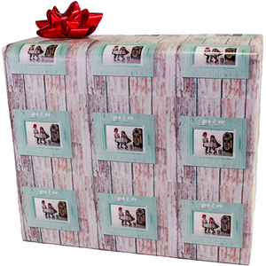 Package wrapped in personalized photo gift wrapping paper