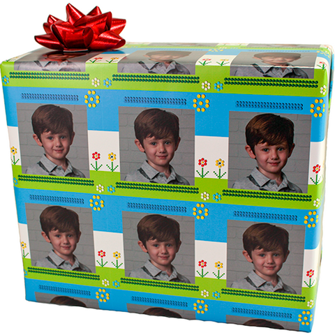 Package of dots and flowers custom photo gift wrapping paper
