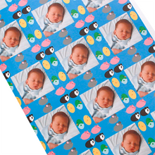 Layflat custom photograph gift wrapping paper with egg animals and baby