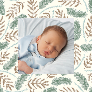 Ferns around a photograph of a baby custom printed gift wrapping paper
