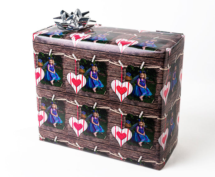 Heart and Parchment Gift wrapped package with your photograph