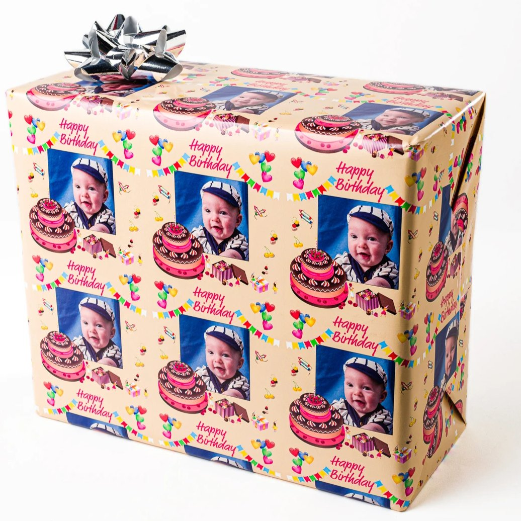 Gift Wrapping paper with baby and birthday cake