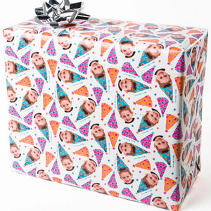 Watercolor gift wrapping paper with face on it