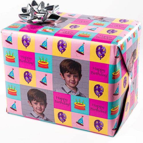 Birthday custom gift wrapped package with photograph