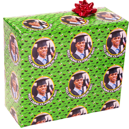 Congrats Black Caps and Diplomas Graduation Class of 2021 Personalized Photo Gift Wrapping Paper