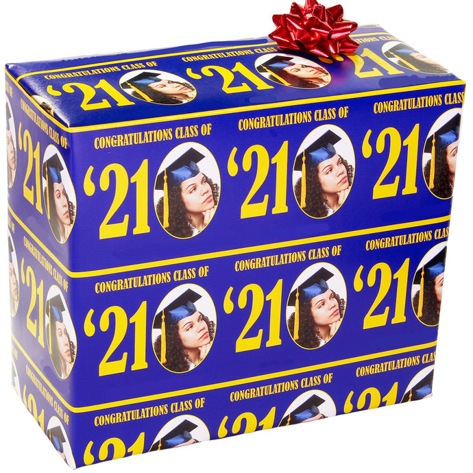 Blue and Gold Class of '21 Personalized Photo Gift Wrapping Paper