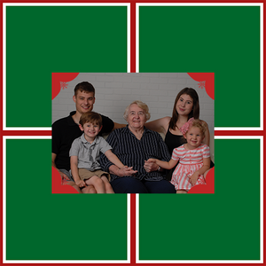 Template personalized photo gift wrap green blocks with family photograph