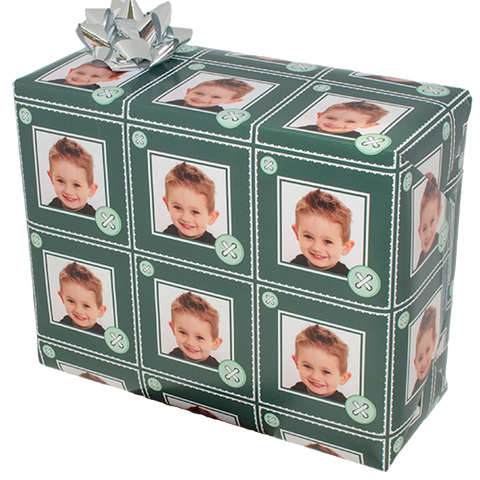 Wrapped package with green buttons young boy custom photo gift wrapping paper