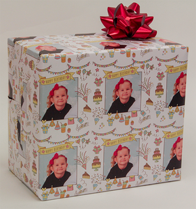 package of personalized photo gift wrapping paper with birthday icons