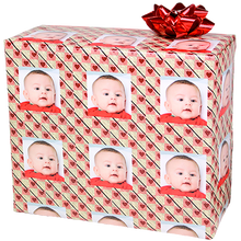 Heart baby photograph on gift wrapping paper