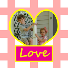 Personalized gift wrapping paper design heart with photo and Love text