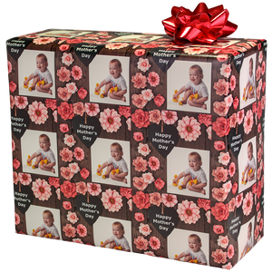Happy Mothers Day Designer Gift Wrapping Paper with Your Photograph