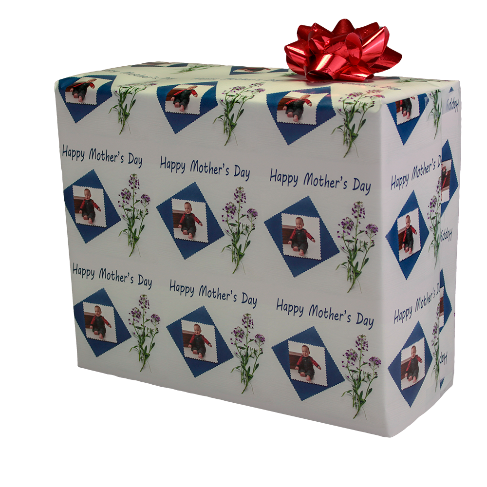 Mothers Day Gift Wrapping Paper with flowers and your photograph