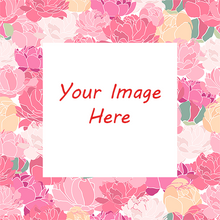 Peonies all around a family photograph to create custom gift wrapping paper