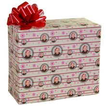 Stylized pink flowers gift wrapping paper with photograph