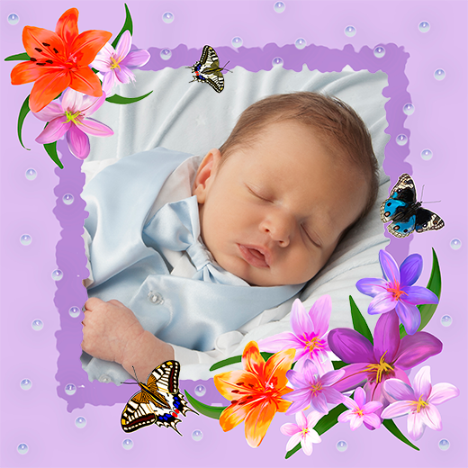 Newborn baby boy surrounded by colorful drawn flowers and butterflies custom gift wrapping paper design