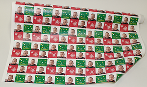 Red and Green Squares Holiday Greetings Snowflakes Christmas Gift Wrapping Paper