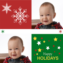 Red and green squares personalized gift wrap template with baby photo