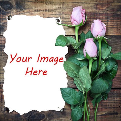 Bouqet of Roses on wood planks with area for photograph gift wrap design layout, your image here
