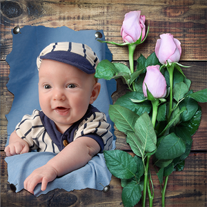 Rose bouqet on wood planks with baby photograph custom gift wrapping paper
