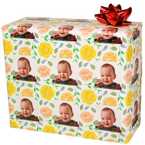 Roses birthday gift wrapping paper with your photograph