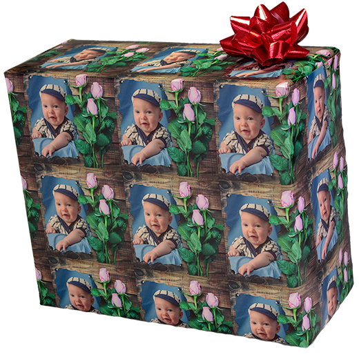 personalized photo gift wrapping paper with boquet of Roses and your family photograph