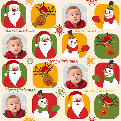 Santa, Snowman and Reindeer Christmas Gift Wrapping Paper