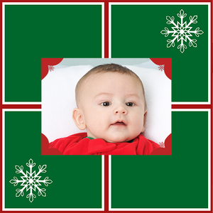 Template personalized photo gift wrap green with snowflakes and baby