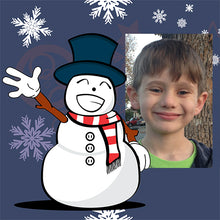 Snowman Waving Gift Wrapping Paper with photograph