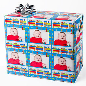 Train photo gift wrapping paper personalized