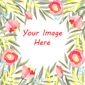 Your image here surrounded by pastel watercolor flowers gift wrapping paper