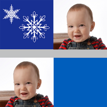 Blue Squares Snowflakes Christmas Gift Wrapping Paper