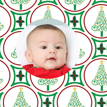 Template of personalized photo gift wrap with Christmas trees and holly