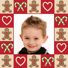 Custom gift wrap template gingerbread candy canes and hearts