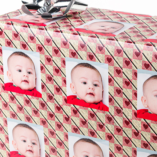Hearts photo gift wrapping paper