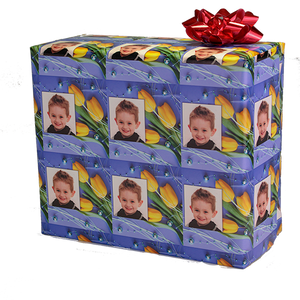 Flower boquet custom gift wrapping paper with picture