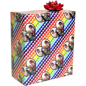Rainbow Hearts custom photo gift wrapping paper wrapped package
