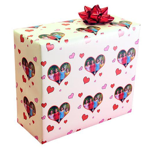 Valentine heart photo gift wrapping paper white
