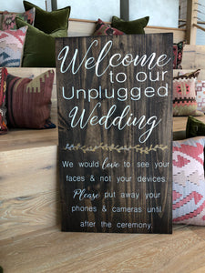 Welcome to our unplugged wedding (D122)