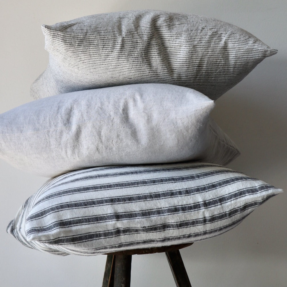 Linen Cushion Cover - Stripe Charcoal