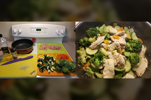 Chicken Stir Fry with Broccoli, Zucchini, and Bell Peppers