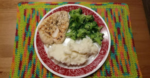 Pan Seared Chicken Breast with Mashed Potatoes and Broccoli
