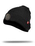 Black beanies with leather patches