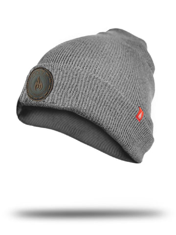 Gray beanies with leather patches